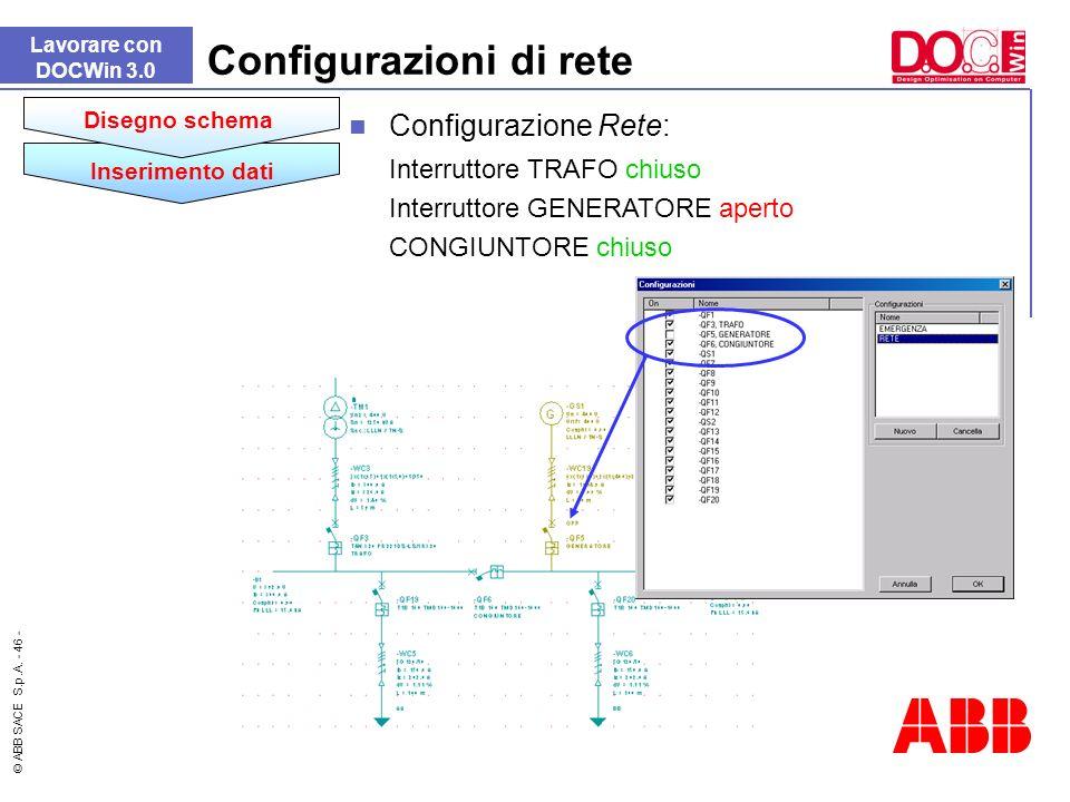 © ABB SACE S.p.A. - 46 - Lavorare con DOCWin 3.0 Configurazioni di rete Inserimento dati Disegno schema Configurazione Rete: Interruttore TRAFO chiuso