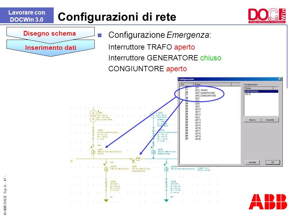 © ABB SACE S.p.A. - 47 - Lavorare con DOCWin 3.0 Configurazioni di rete Configurazione Emergenza: Interruttore TRAFO aperto Interruttore GENERATORE ch