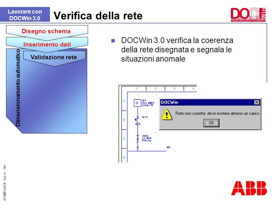 © ABB SACE S.p.A. - 50 - DOCWin 3.0 verifica la coerenza della rete disegnata e segnala le situazioni anomale Verifica della rete Lavorare con DOCWin