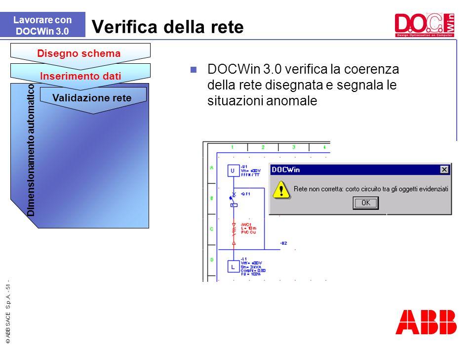 © ABB SACE S.p.A. - 51 - DOCWin 3.0 verifica la coerenza della rete disegnata e segnala le situazioni anomale Verifica della rete Lavorare con DOCWin