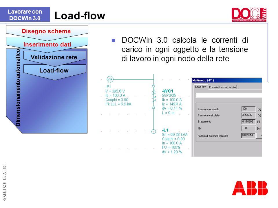 © ABB SACE S.p.A. - 52 - Load-flow DOCWin 3.0 calcola le correnti di carico in ogni oggetto e la tensione di lavoro in ogni nodo della rete Lavorare c
