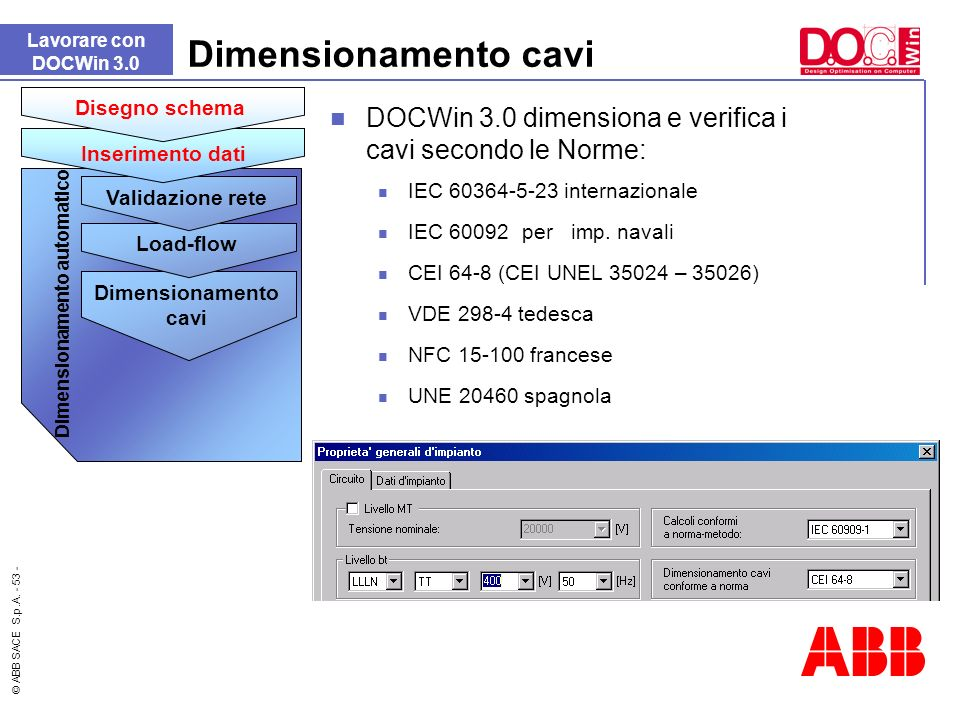 © ABB SACE S.p.A. - 53 - Dimensionamento cavi DOCWin 3.0 dimensiona e verifica i cavi secondo le Norme: IEC 60364-5-23 internazionale IEC 60092per imp