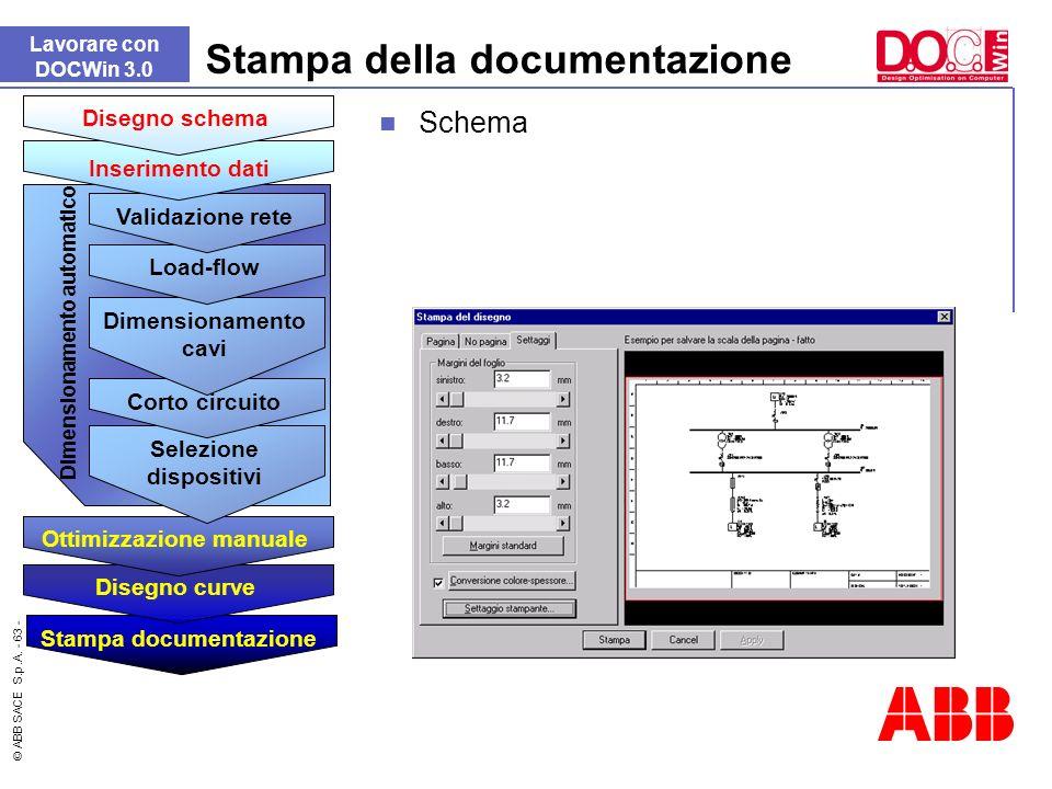 © ABB SACE S.p.A. - 63 - Stampa della documentazione Lavorare con DOCWin 3.0 Schema Dimensionamento automatico Stampa documentazione Disegno curve Ott