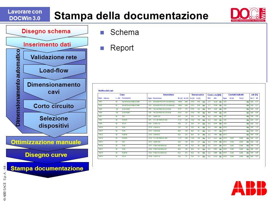 © ABB SACE S.p.A. - 64 - Stampa della documentazione Lavorare con DOCWin 3.0 Report Dimensionamento automatico Stampa documentazione Disegno curve Ott