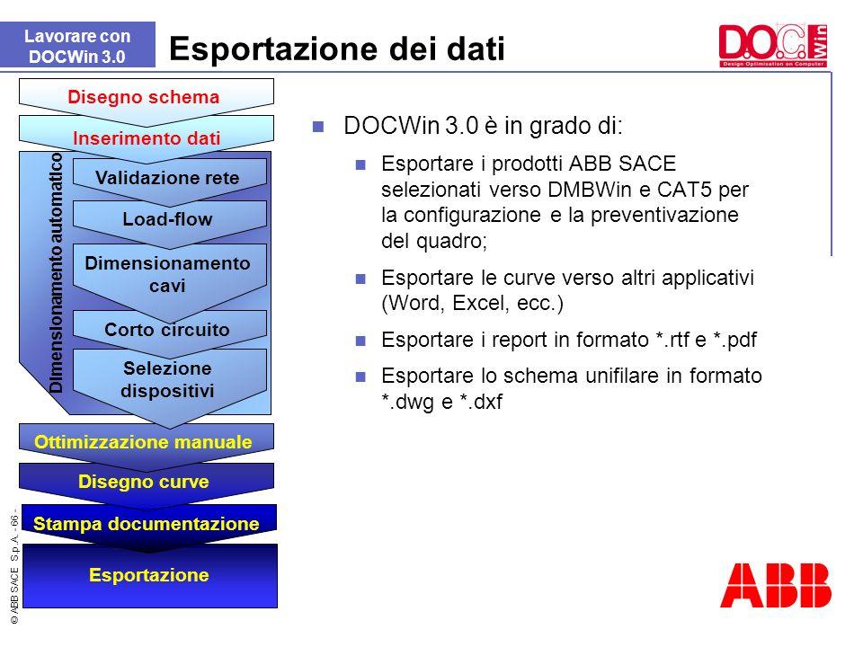 © ABB SACE S.p.A. - 66 - Esportazione dei dati DOCWin 3.0 è in grado di: Esportare i prodotti ABB SACE selezionati verso DMBWin e CAT5 per la configur