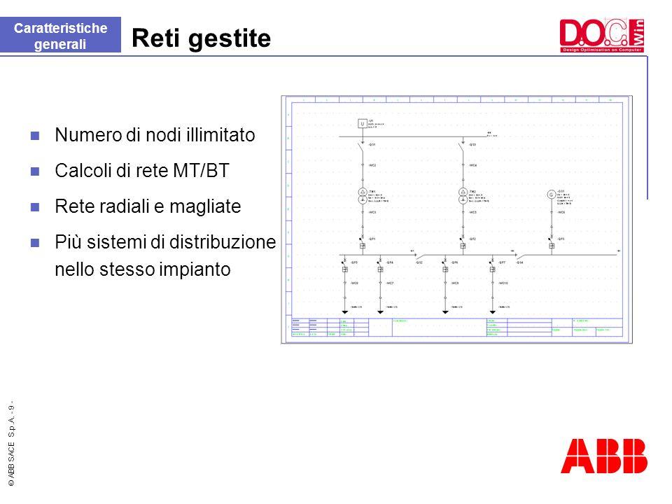 © ABB SACE S.p.A. - 9 - Reti gestite Caratteristiche generali Numero di nodi illimitato Calcoli di rete MT/BT Rete radiali e magliate Più sistemi di d