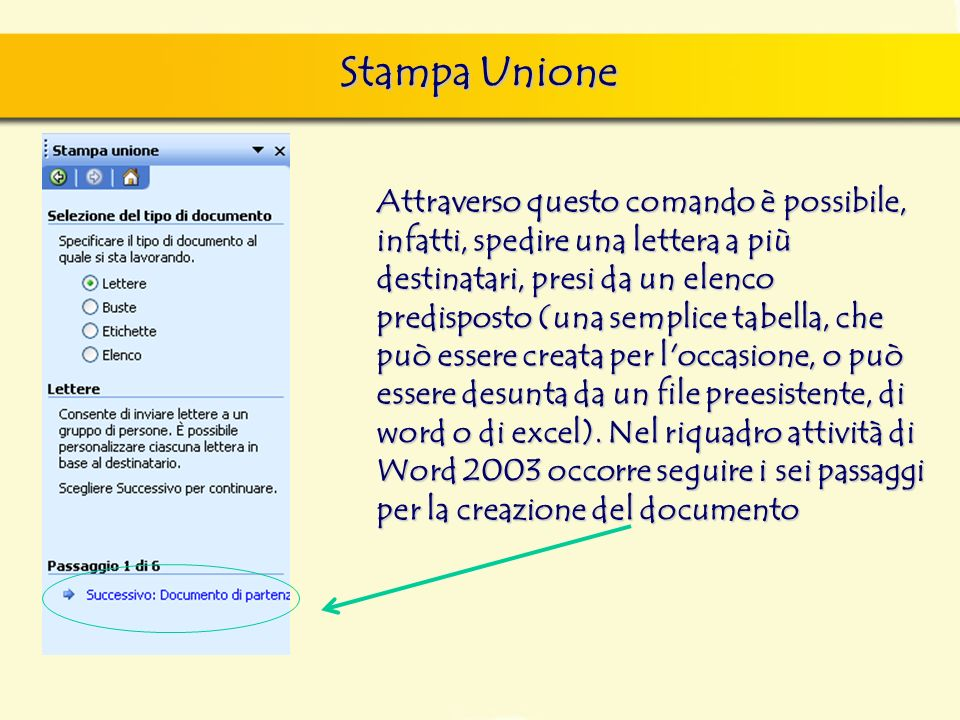 Stampa Unione Attraverso questo comando è possibile, infatti, spedire una lettera a più destinatari, presi da un elenco predisposto (una semplice tabe