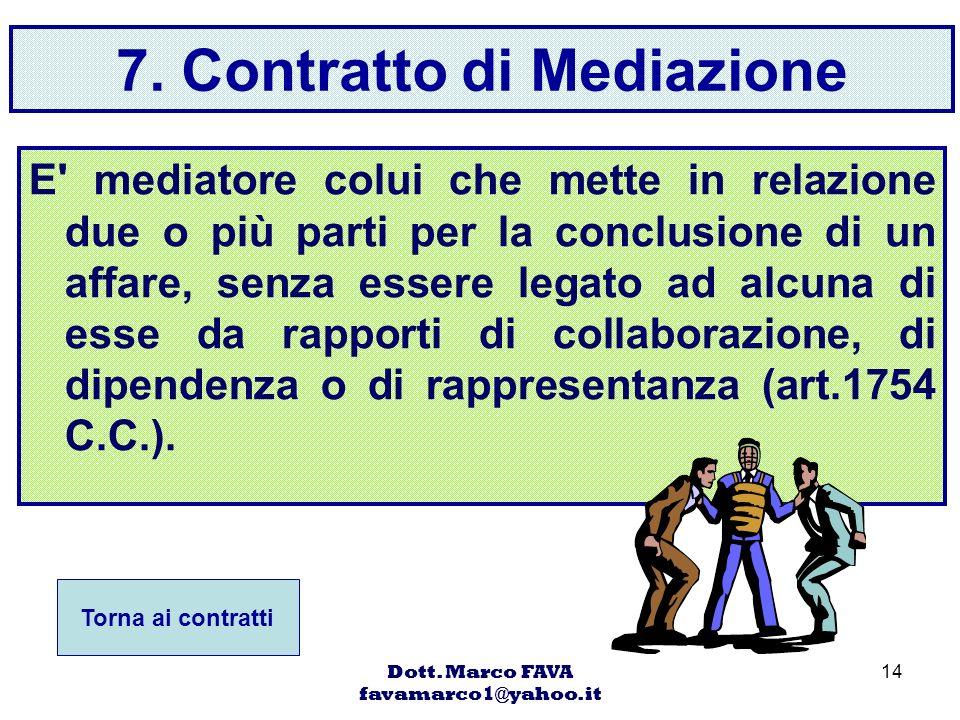 Dott. Marco FAVA favamarco1@yahoo.it 14 7. Contratto di Mediazione E' mediatore colui che mette in relazione due o più parti per la conclusione di un