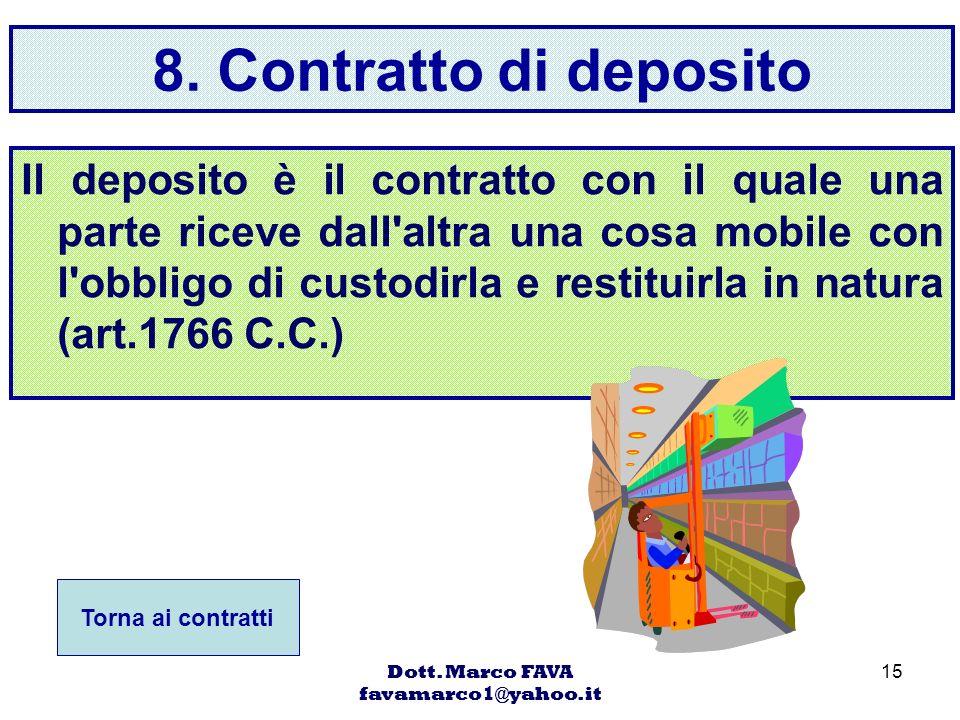 Dott. Marco FAVA favamarco1@yahoo.it 15 8. Contratto di deposito Il deposito è il contratto con il quale una parte riceve dall'altra una cosa mobile c