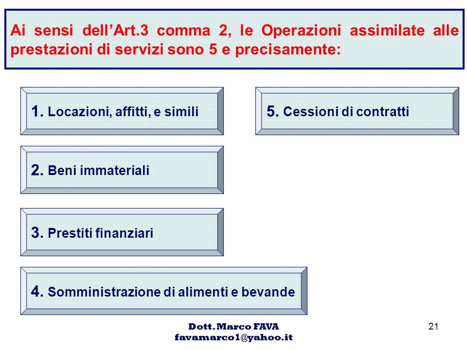 Dott. Marco FAVA favamarco1@yahoo.it 21 Ai sensi dellArt.3 comma 2, le Operazioni assimilate alle prestazioni di servizi sono 5 e precisamente: 1. Loc