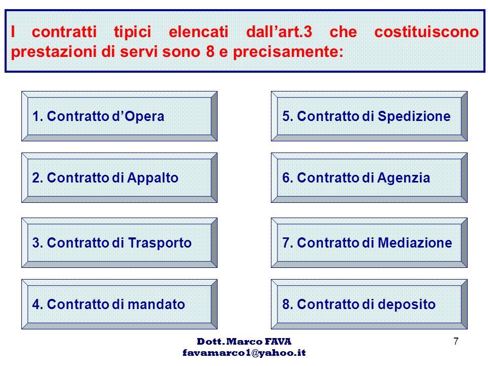 Dott. Marco FAVA favamarco1@yahoo.it 7 I contratti tipici elencati dallart.3 che costituiscono prestazioni di servi sono 8 e precisamente: 1. Contratt