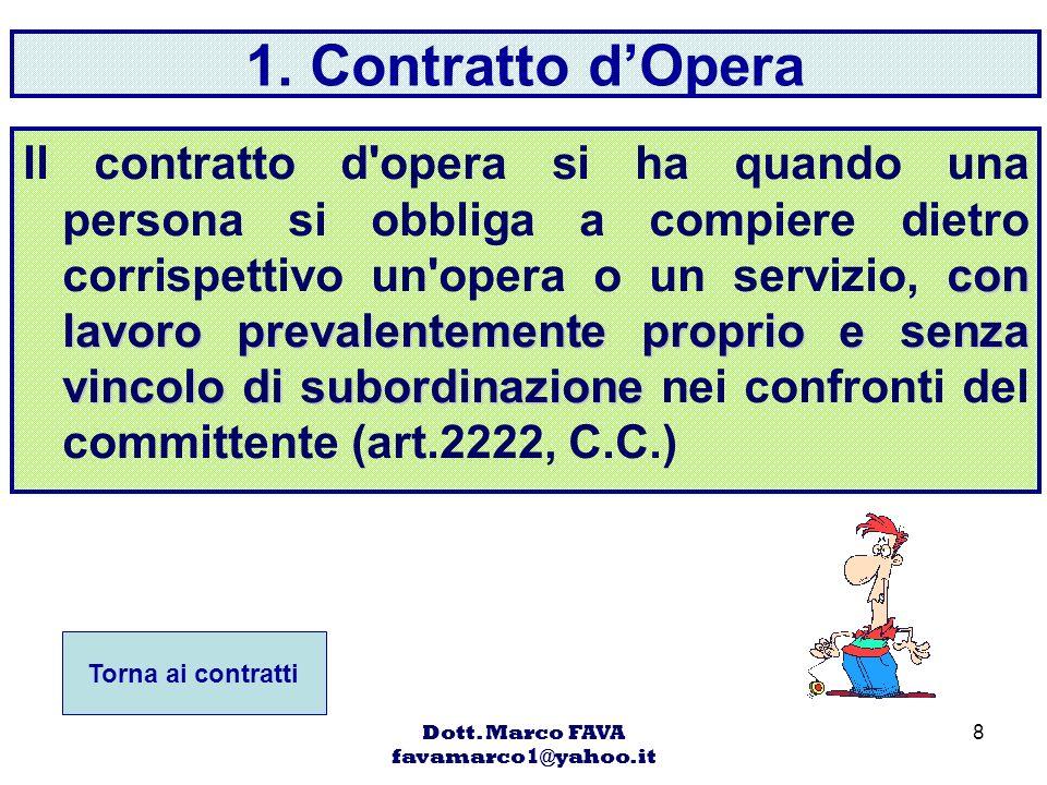 Dott. Marco FAVA favamarco1@yahoo.it 8 1. Contratto dOpera con lavoro prevalentemente proprio e senza vincolo di subordinazione Il contratto d'opera s