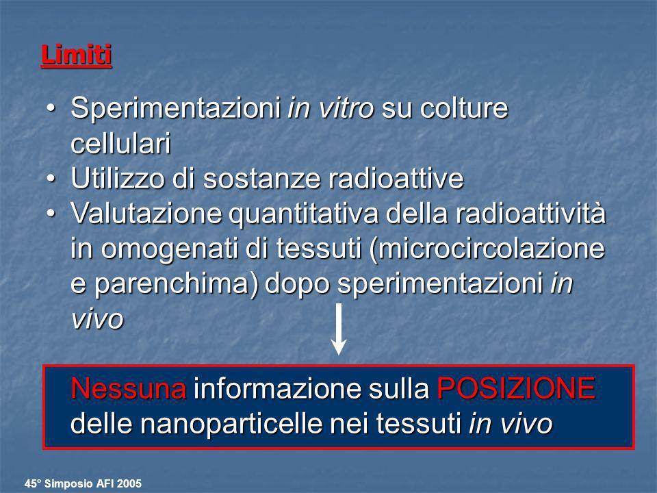 Limiti Sperimentazioni in vitro su colture cellulariSperimentazioni in vitro su colture cellulari Utilizzo di sostanze radioattiveUtilizzo di sostanze