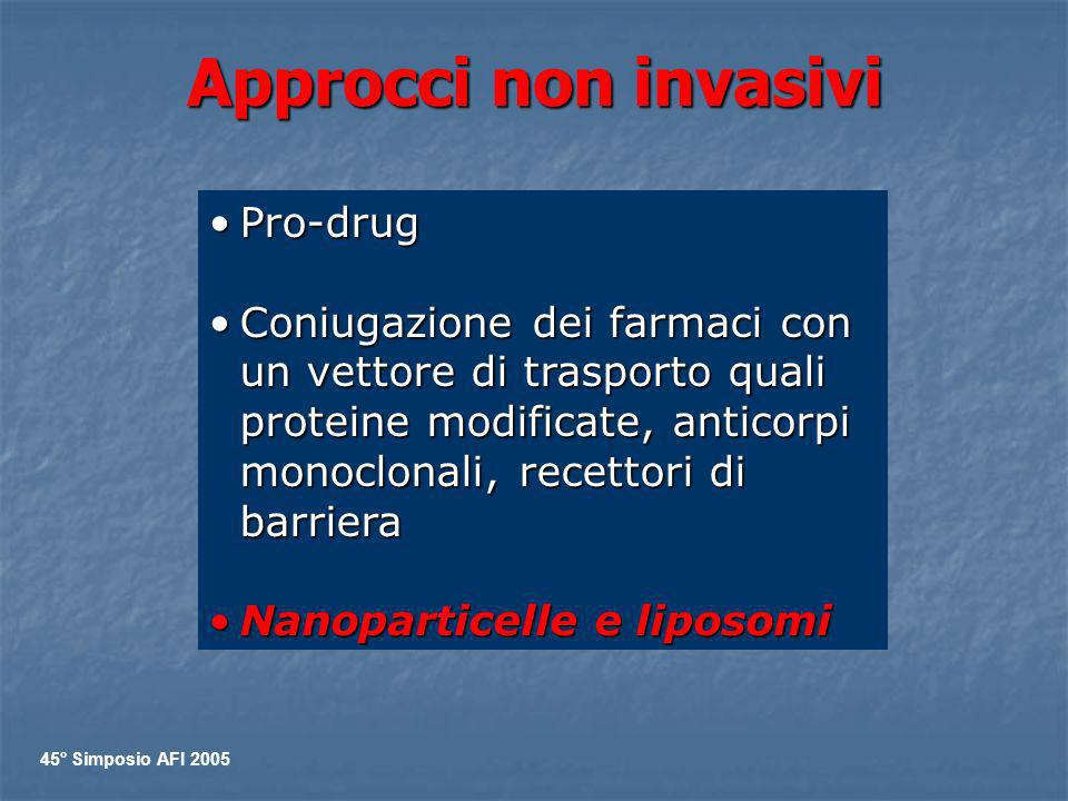 Approcci non invasivi Pro-drugPro-drug Coniugazione dei farmaci con un vettore di trasporto quali proteine modificate, anticorpi monoclonali, recettor