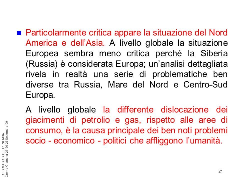 21 LABORATORIO DELLENERGIA Crema-Cremona, 25-26-27 Settembre 09 Particolarmente critica appare la situazione del Nord America e dellAsia. A livello gl