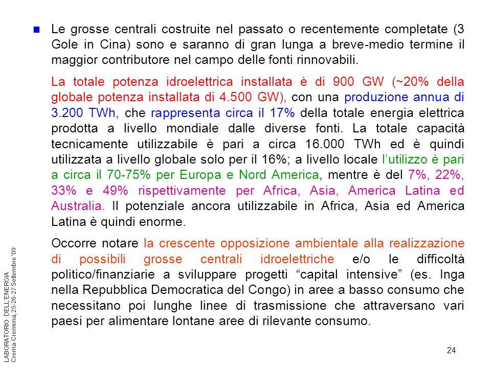 24 LABORATORIO DELLENERGIA Crema-Cremona, 25-26-27 Settembre 09 Le grosse centrali costruite nel passato o recentemente completate (3 Gole in Cina) so