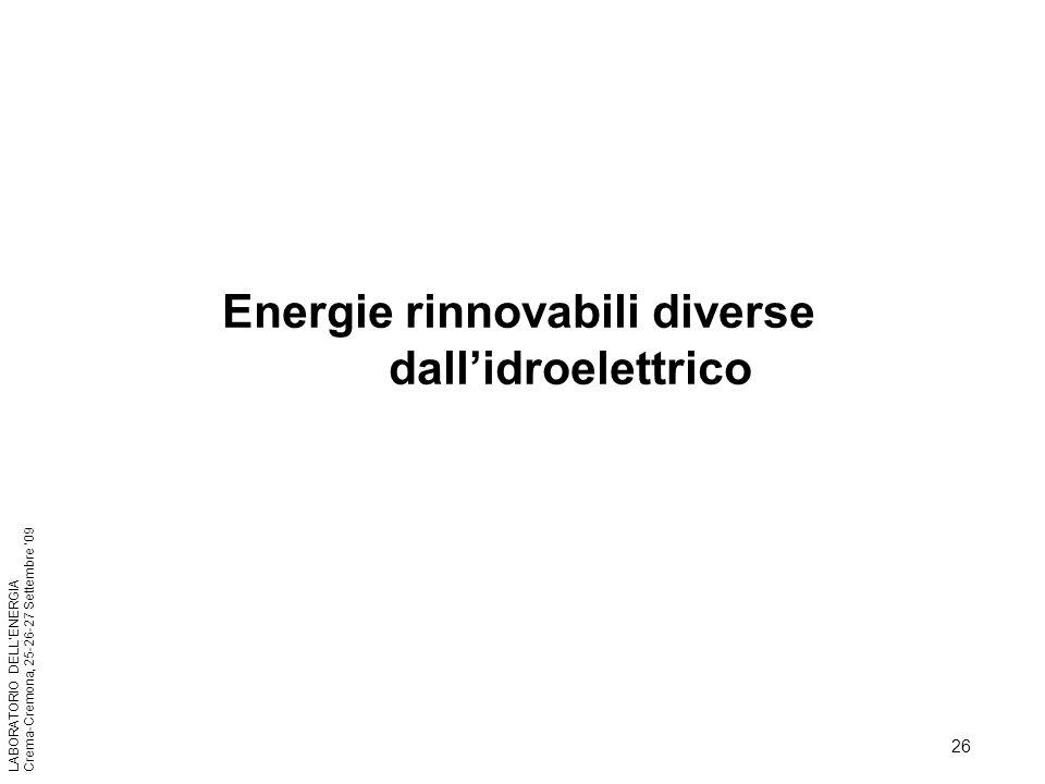 26 LABORATORIO DELLENERGIA Crema-Cremona, 25-26-27 Settembre 09 Energie rinnovabili diverse dallidroelettrico