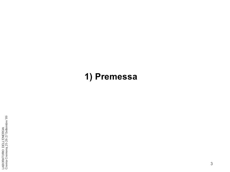 3 LABORATORIO DELLENERGIA Crema-Cremona, 25-26-27 Settembre 09 1) Premessa