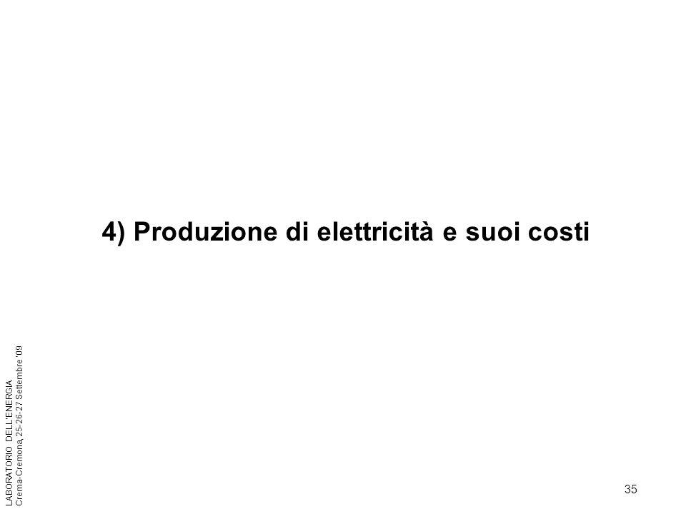 35 LABORATORIO DELLENERGIA Crema-Cremona, 25-26-27 Settembre 09 4) Produzione di elettricità e suoi costi