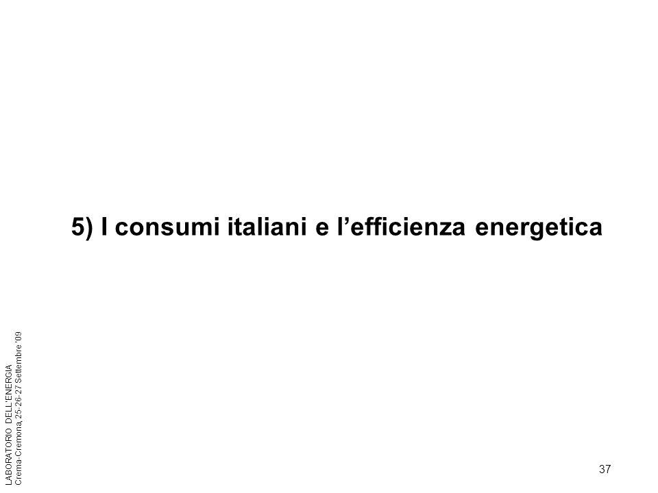 37 LABORATORIO DELLENERGIA Crema-Cremona, 25-26-27 Settembre 09 5) I consumi italiani e lefficienza energetica