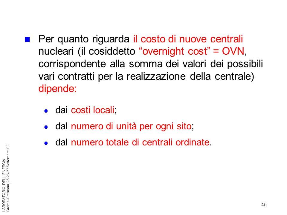 45 LABORATORIO DELLENERGIA Crema-Cremona, 25-26-27 Settembre 09 Per quanto riguarda il costo di nuove centrali nucleari (il cosiddetto overnight cost