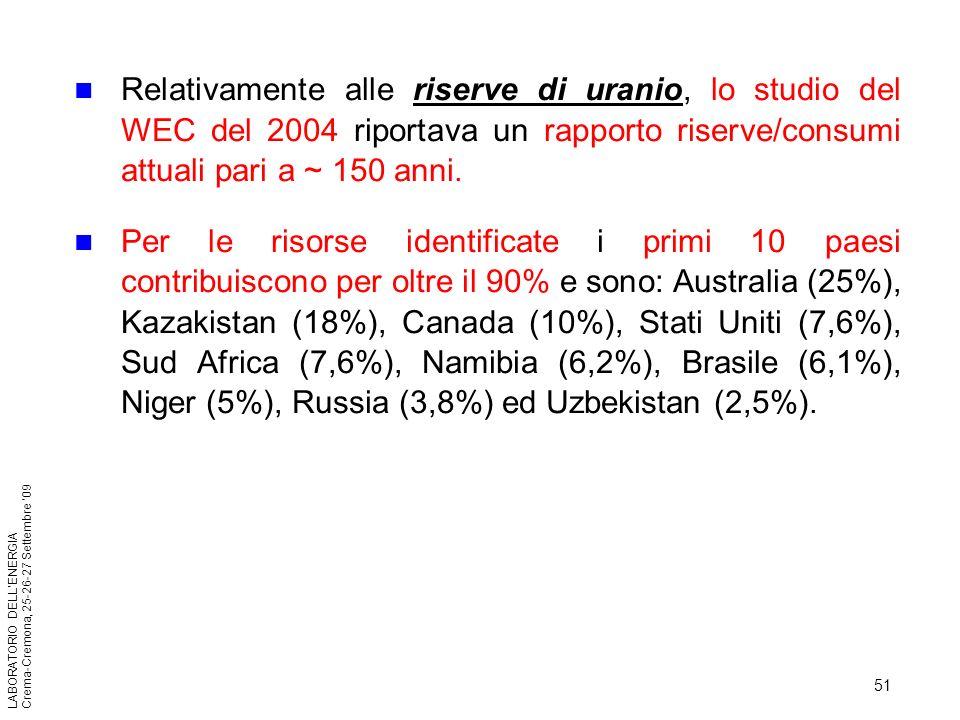 51 LABORATORIO DELLENERGIA Crema-Cremona, 25-26-27 Settembre 09 Relativamente alle riserve di uranio, lo studio del WEC del 2004 riportava un rapporto