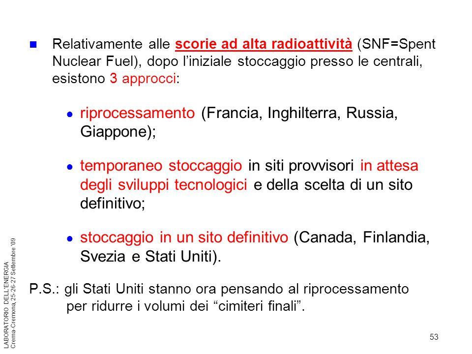 53 LABORATORIO DELLENERGIA Crema-Cremona, 25-26-27 Settembre 09 Relativamente alle scorie ad alta radioattività (SNF=Spent Nuclear Fuel), dopo linizia