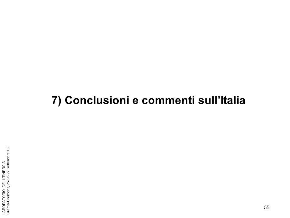 55 LABORATORIO DELLENERGIA Crema-Cremona, 25-26-27 Settembre 09 7) Conclusioni e commenti sullItalia