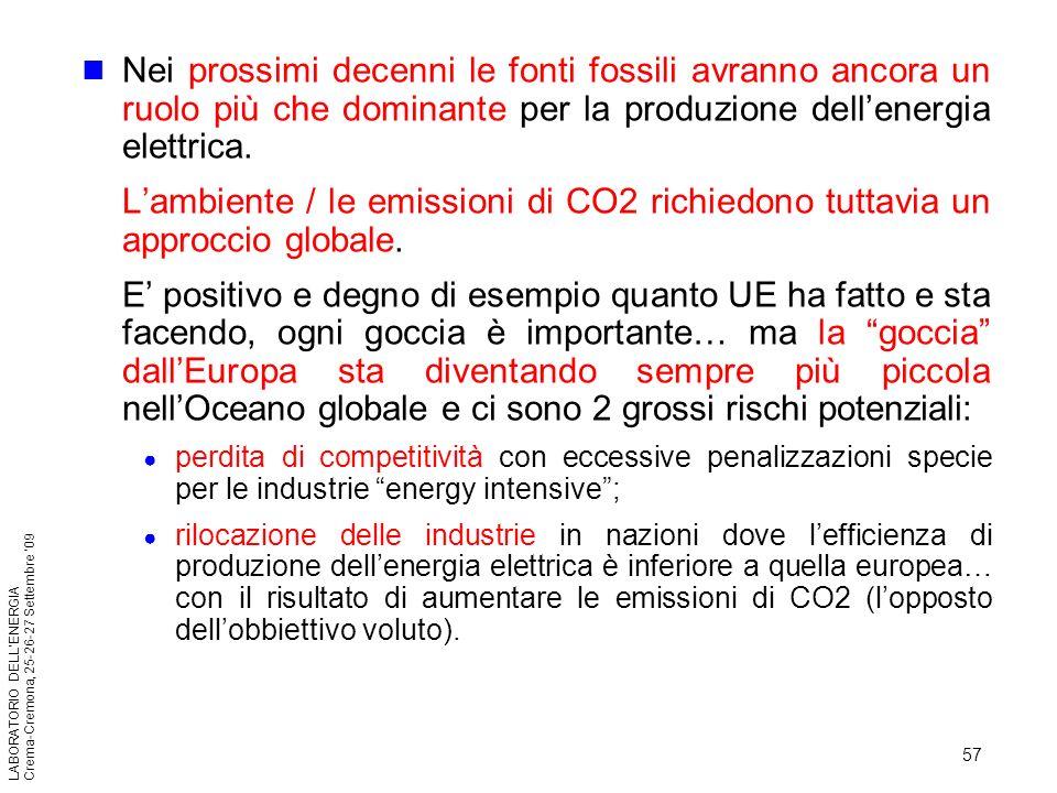 57 LABORATORIO DELLENERGIA Crema-Cremona, 25-26-27 Settembre 09 Nei prossimi decenni le fonti fossili avranno ancora un ruolo più che dominante per la