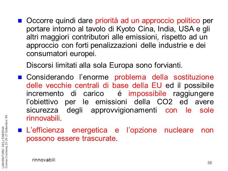58 LABORATORIO DELLENERGIA Crema-Cremona, 25-26-27 Settembre 09 Occorre quindi dare priorità ad un approccio politico per portare intorno al tavolo di