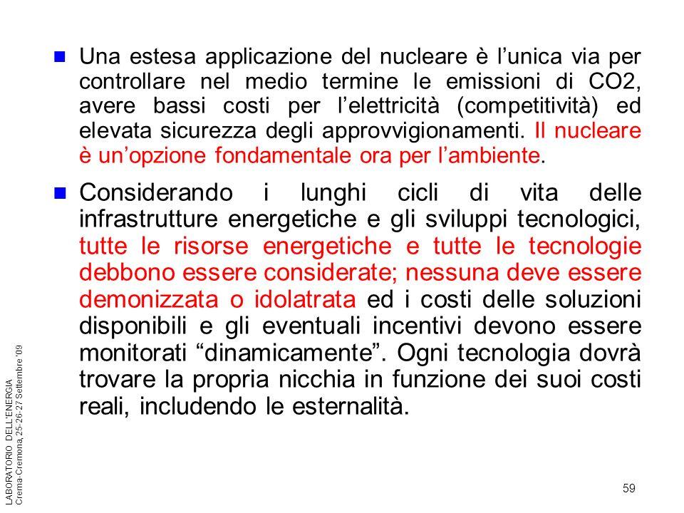 59 LABORATORIO DELLENERGIA Crema-Cremona, 25-26-27 Settembre 09 Una estesa applicazione del nucleare è lunica via per controllare nel medio termine le