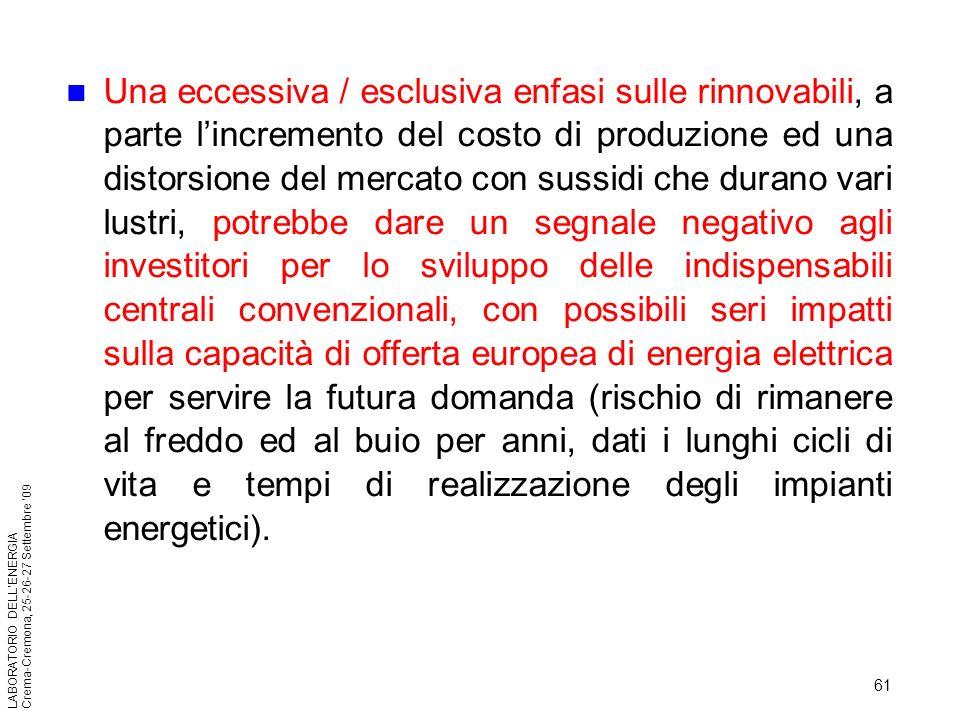 61 LABORATORIO DELLENERGIA Crema-Cremona, 25-26-27 Settembre 09 Una eccessiva / esclusiva enfasi sulle rinnovabili, a parte lincremento del costo di p