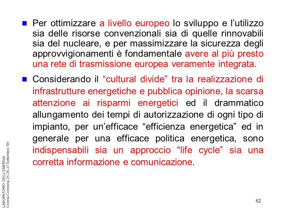 62 LABORATORIO DELLENERGIA Crema-Cremona, 25-26-27 Settembre 09 Per ottimizzare a livello europeo lo sviluppo e lutilizzo sia delle risorse convenzion