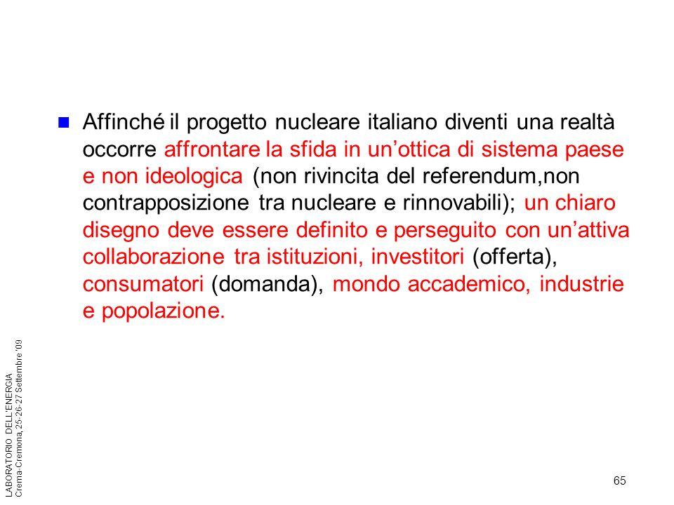 65 LABORATORIO DELLENERGIA Crema-Cremona, 25-26-27 Settembre 09 Affinché il progetto nucleare italiano diventi una realtà occorre affrontare la sfida