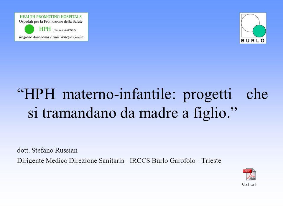 HPH materno-infantile: progetti che si tramandano da madre a figlio. dott. Stefano Russian Dirigente Medico Direzione Sanitaria - IRCCS Burlo Garofolo