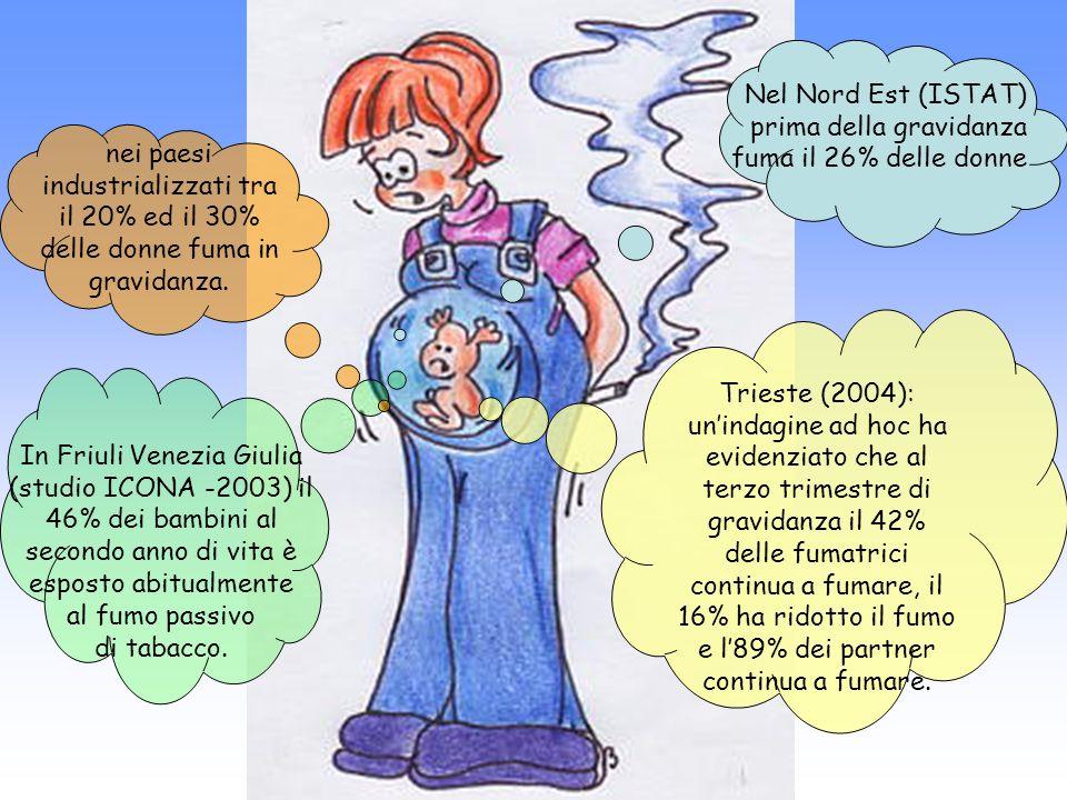 Trieste (2004): unindagine ad hoc ha evidenziato che al terzo trimestre di gravidanza il 42% delle fumatrici continua a fumare, il 16% ha ridotto il fumo e l89% dei partner continua a fumare.