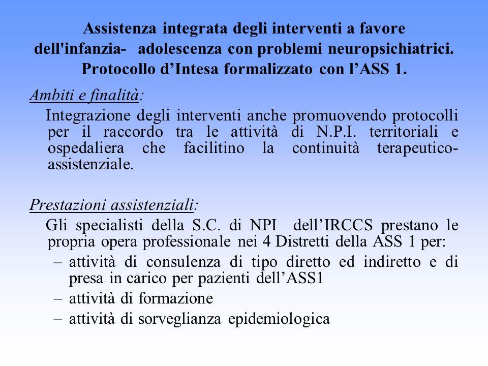 Assistenza integrata degli interventi a favore dell'infanzia- adolescenza con problemi neuropsichiatrici. Protocollo dIntesa formalizzato con lASS 1.