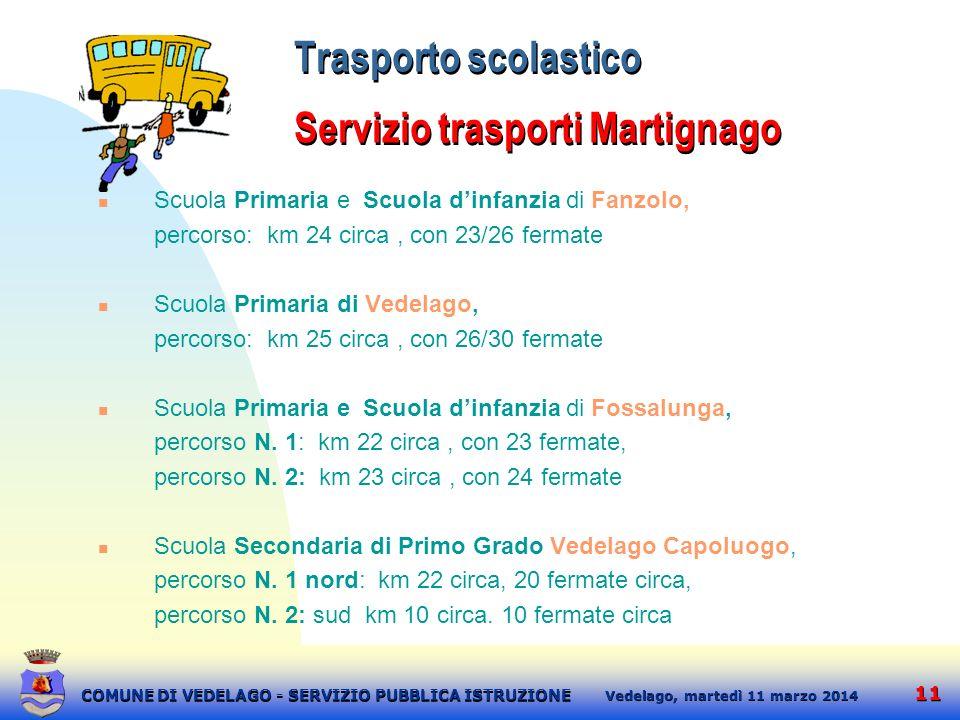 11 martedì 11 marzo 2014 Vedelago, COMUNE DI VEDELAGO - SERVIZIO PUBBLICA ISTRUZIONE Trasporto scolastico Servizio trasporti Martignago Scuola Primari