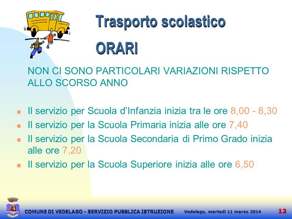 12 martedì 11 marzo 2014 Vedelago, COMUNE DI VEDELAGO - SERVIZIO PUBBLICA ISTRUZIONE Trasporto scolastico ORARI NON CI SONO PARTICOLARI VARIAZIONI RIS