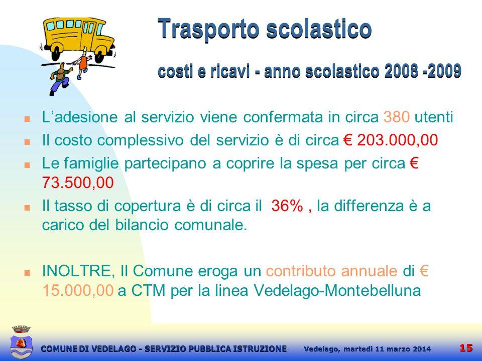 15 martedì 11 marzo 2014 Vedelago, COMUNE DI VEDELAGO - SERVIZIO PUBBLICA ISTRUZIONE Trasporto scolastico costi e ricavi - anno scolastico 2008 -2009