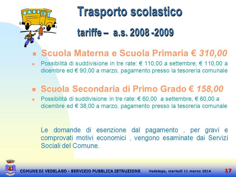 17 martedì 11 marzo 2014 Vedelago, COMUNE DI VEDELAGO - SERVIZIO PUBBLICA ISTRUZIONE Trasporto scolastico tariffe – a.s. 2008 -2009 Scuola Materna e S