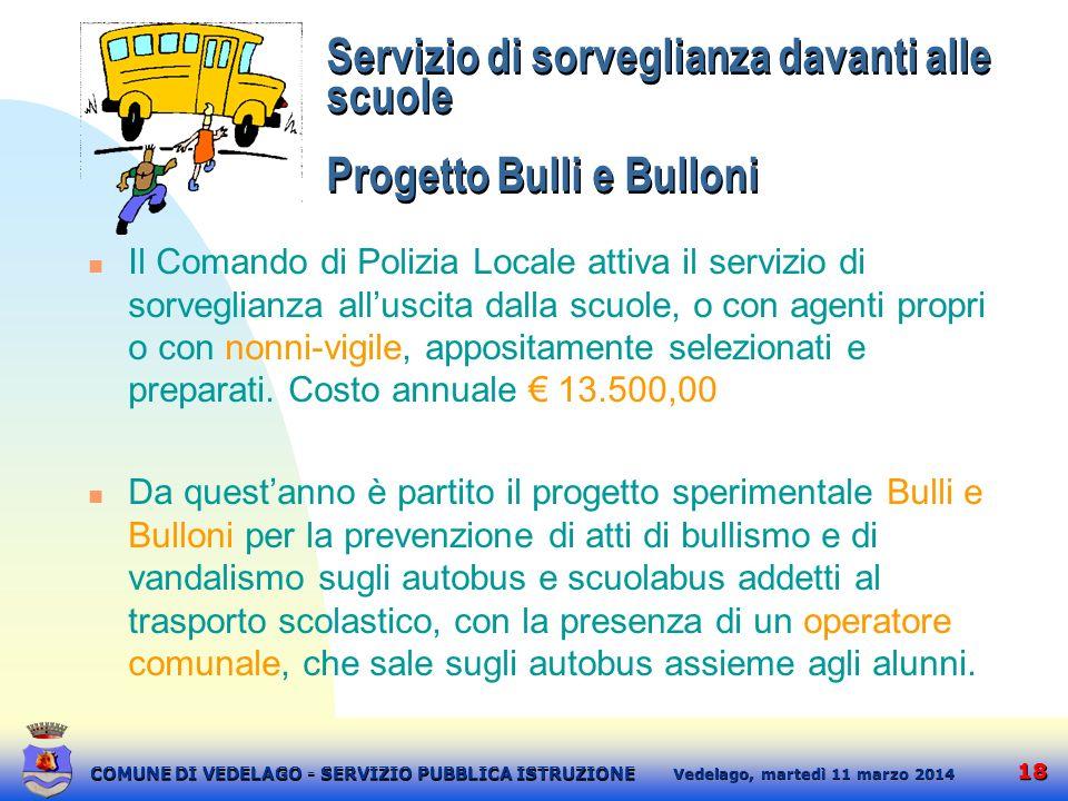 18 martedì 11 marzo 2014 Vedelago, COMUNE DI VEDELAGO - SERVIZIO PUBBLICA ISTRUZIONE Servizio di sorveglianza davanti alle scuole Progetto Bulli e Bul