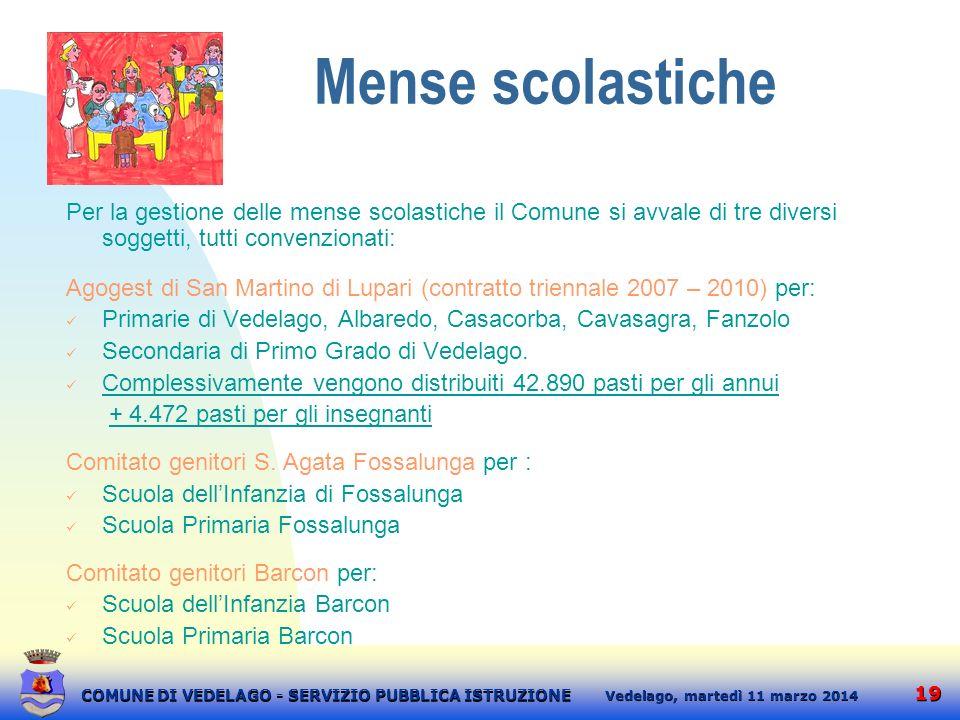 19 martedì 11 marzo 2014 Vedelago, COMUNE DI VEDELAGO - SERVIZIO PUBBLICA ISTRUZIONE Mense scolastiche Per la gestione delle mense scolastiche il Comu