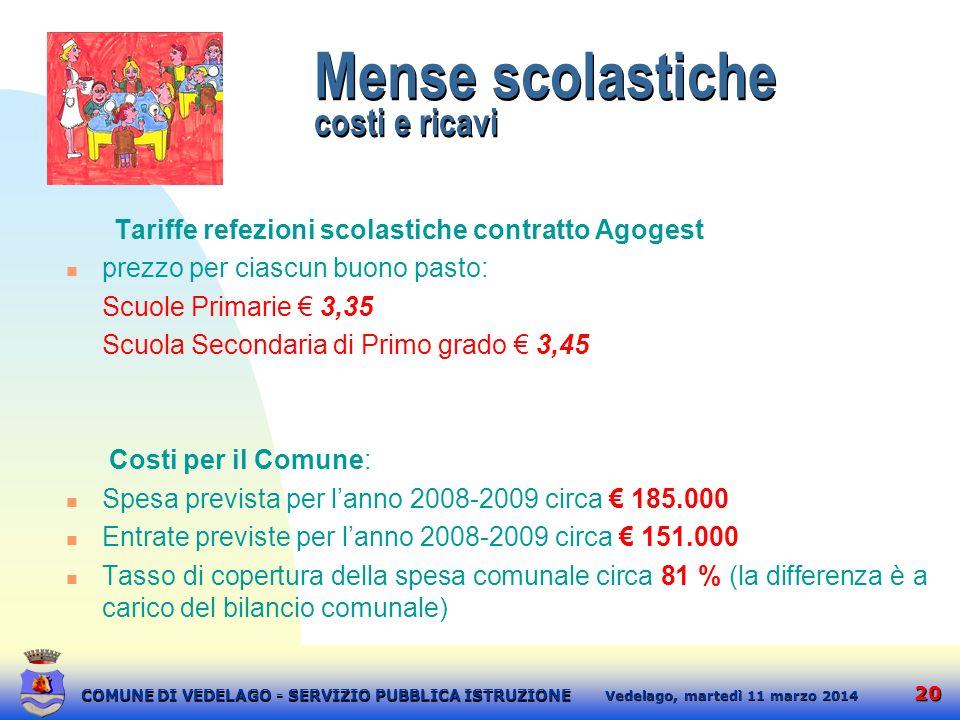 20 martedì 11 marzo 2014 Vedelago, COMUNE DI VEDELAGO - SERVIZIO PUBBLICA ISTRUZIONE Mense scolastiche costi e ricavi Tariffe refezioni scolastiche co