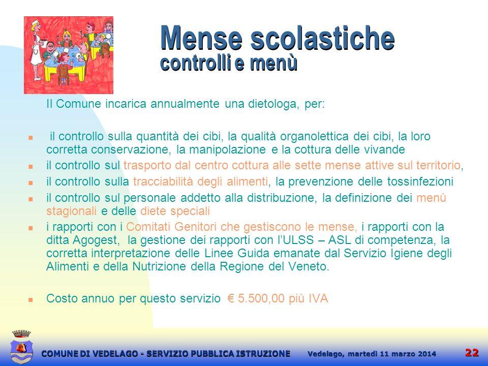 22 martedì 11 marzo 2014 Vedelago, COMUNE DI VEDELAGO - SERVIZIO PUBBLICA ISTRUZIONE Mense scolastiche controlli e menù Il Comune incarica annualmente