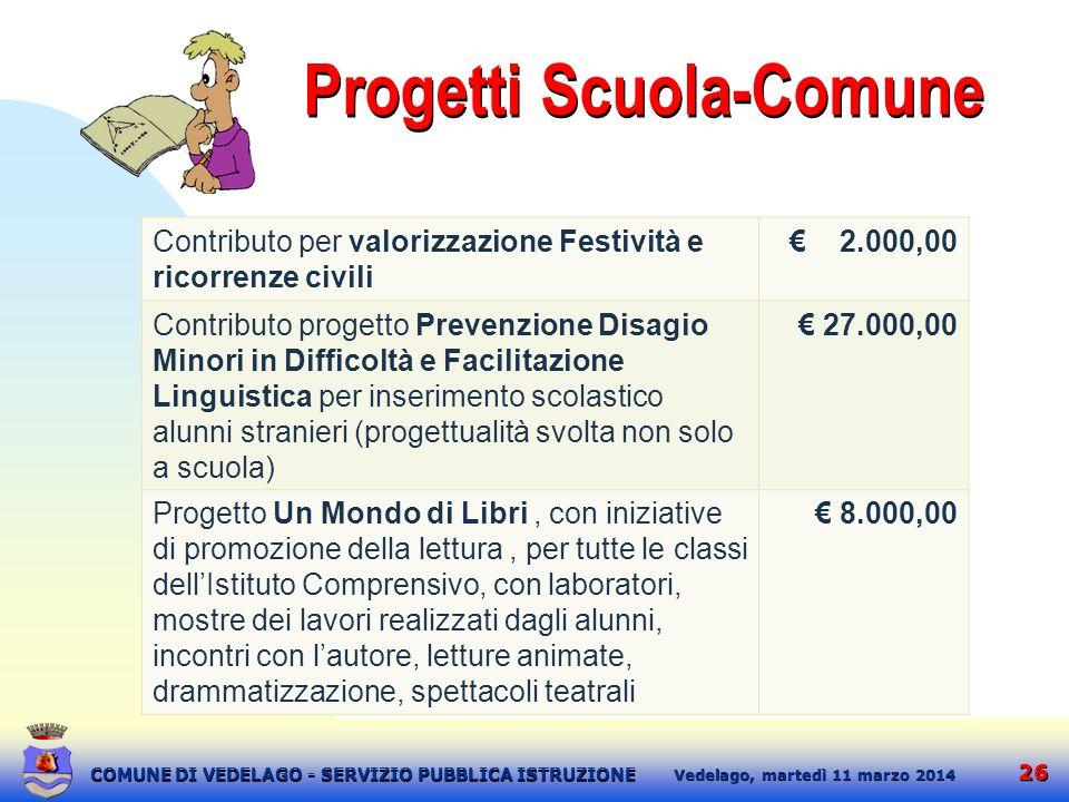 26 martedì 11 marzo 2014 Vedelago, COMUNE DI VEDELAGO - SERVIZIO PUBBLICA ISTRUZIONE Progetti Scuola-Comune Contributo per valorizzazione Festività e