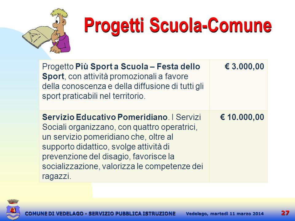 27 martedì 11 marzo 2014 Vedelago, COMUNE DI VEDELAGO - SERVIZIO PUBBLICA ISTRUZIONE Progetti Scuola-Comune Progetto Più Sport a Scuola – Festa dello