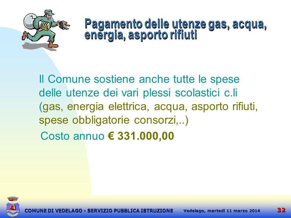 32 martedì 11 marzo 2014 Vedelago, COMUNE DI VEDELAGO - SERVIZIO PUBBLICA ISTRUZIONE Pagamento delle utenze gas, acqua, energia, asporto rifiuti Il Co