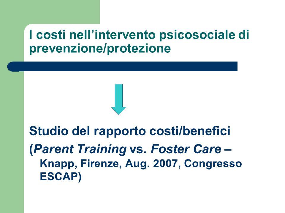 I costi nellintervento psicosociale di prevenzione/protezione Studio del rapporto costi/benefici (Parent Training vs. Foster Care – Knapp, Firenze, Au