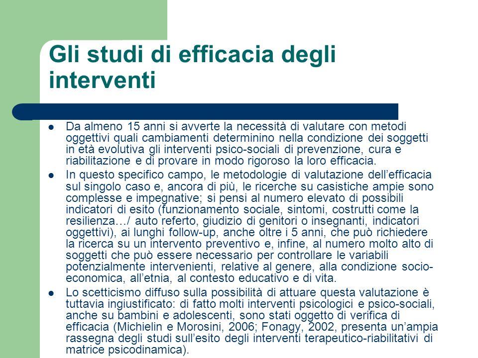 Gli studi di efficacia degli interventi Da almeno 15 anni si avverte la necessità di valutare con metodi oggettivi quali cambiamenti determinino nella